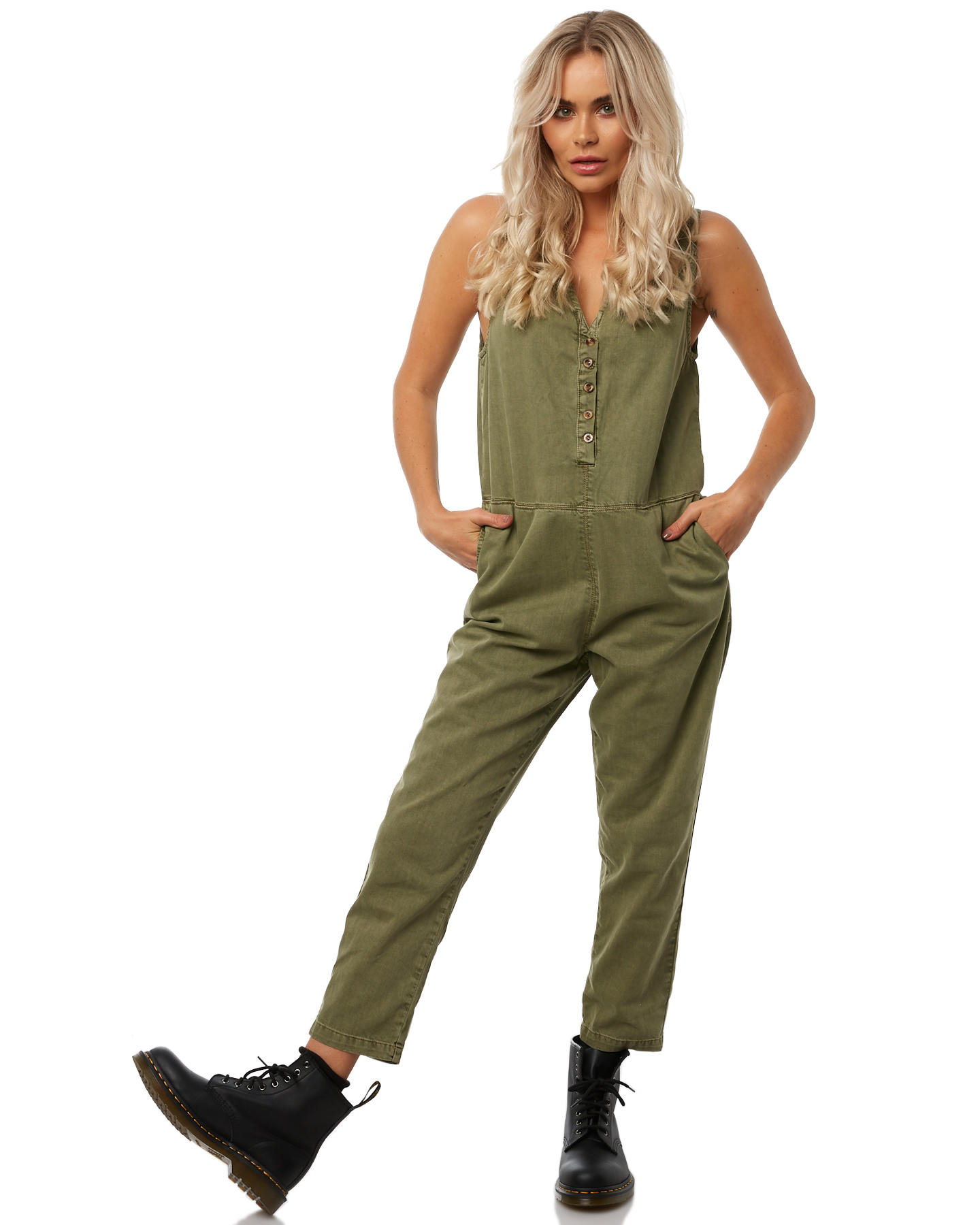 411491bc37e Thrills Shadows Jumpsuit Army Green Playsuit Size 10