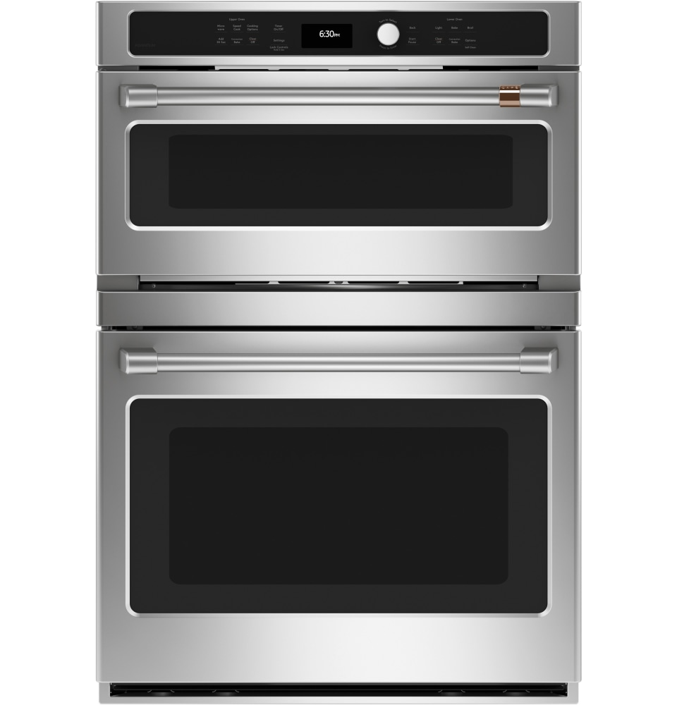 cafe 30 in self cleaning convection european element microwave wall oven combo stainless steel