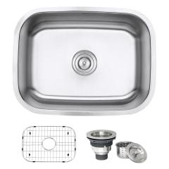 ruvati parmi undermount 24 in x 1725 in brushed stainless steel single bowl kitchen sink