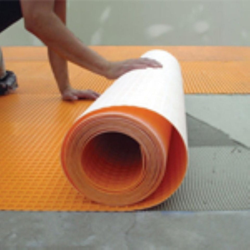schluter systems ditra 54 sq ft orange plastic waterproofing tile membrane