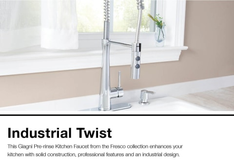 giagni fresco polished chrome 1 handle deck mount pre rinse handle kitchen faucet deck plate included