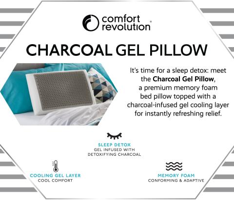 comfort revolution charcoal gel memory foam pillow