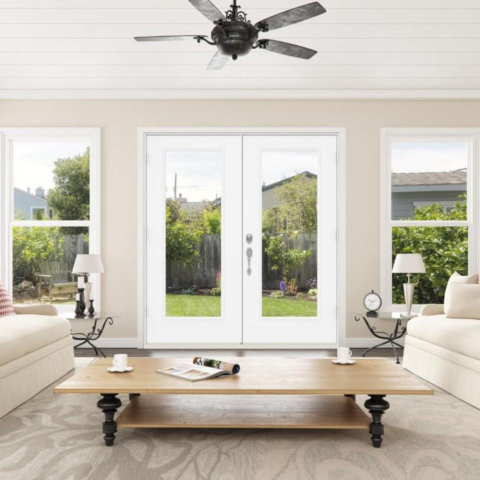 jeld wen 72 in x 80 in clear glass primed steel left hand inswing double door french patio door
