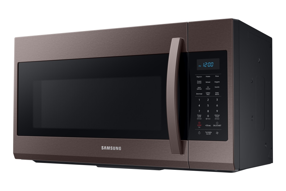 samsung 1 9 cu ft over the range microwave with sensor cooking fingerprint resistant tuscan stainless steel