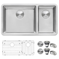 ruvati modena undermount 31 5 in x 17 75 in brushed stainless double offset bowl kitchen sink