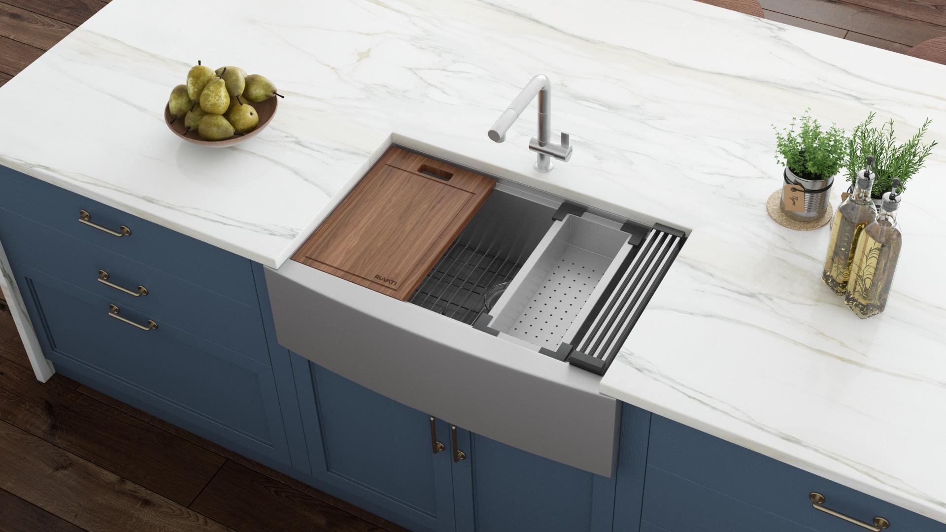 ruvati verona farmhouse apron front 36 in x 22 in stainless steel single bowl workstation kitchen sink