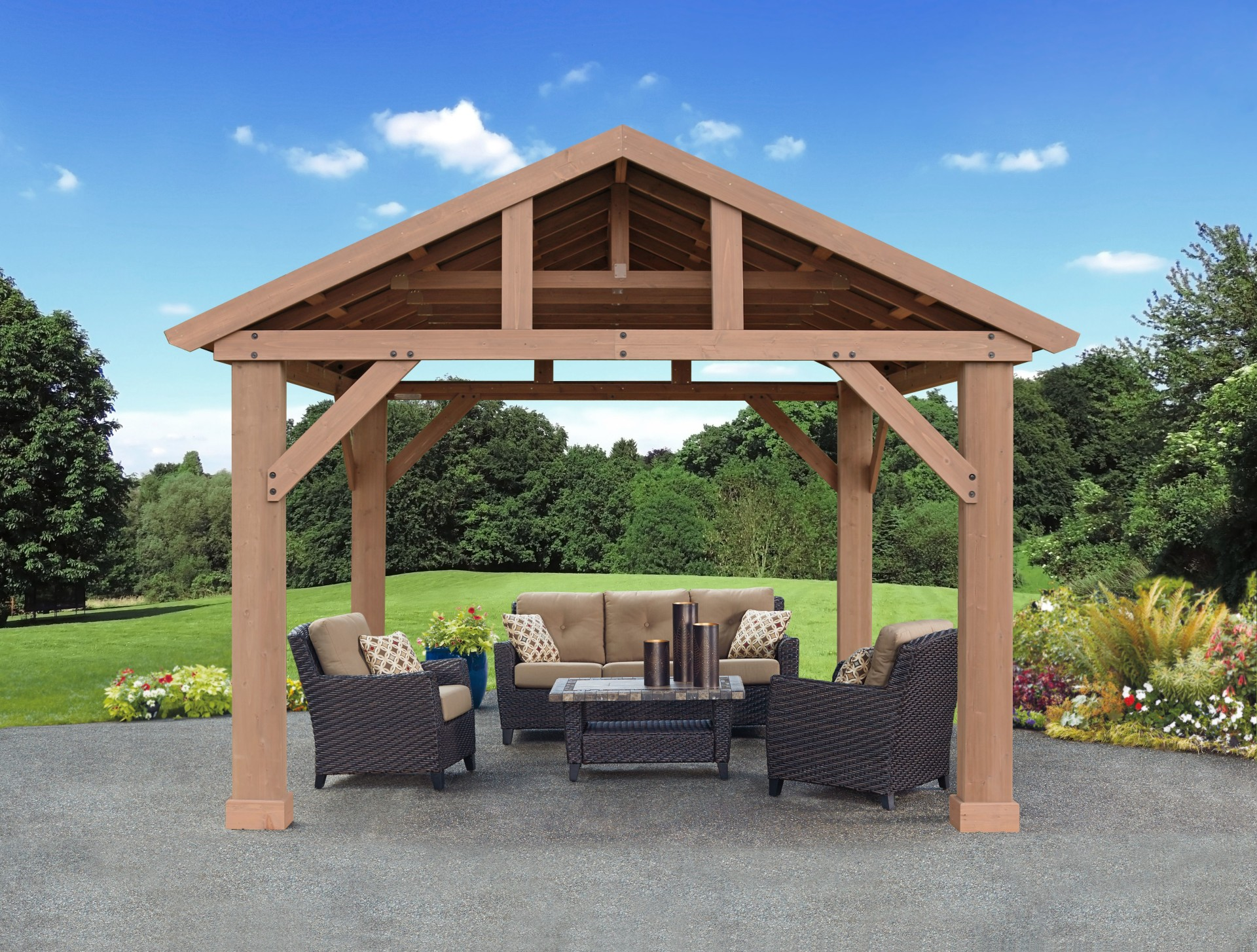 14 x 12 cedar pavilion with aluminum roof