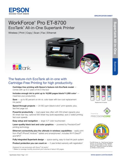 Epson Et 8700 Printer Driver : epson, printer, driver, Epson, WorkForce, ET-8700, EcoTank, Wireless, Color, All-in-One, Supertank, Printer, Scanner,, Copier,, Ethernet, Walmart.com