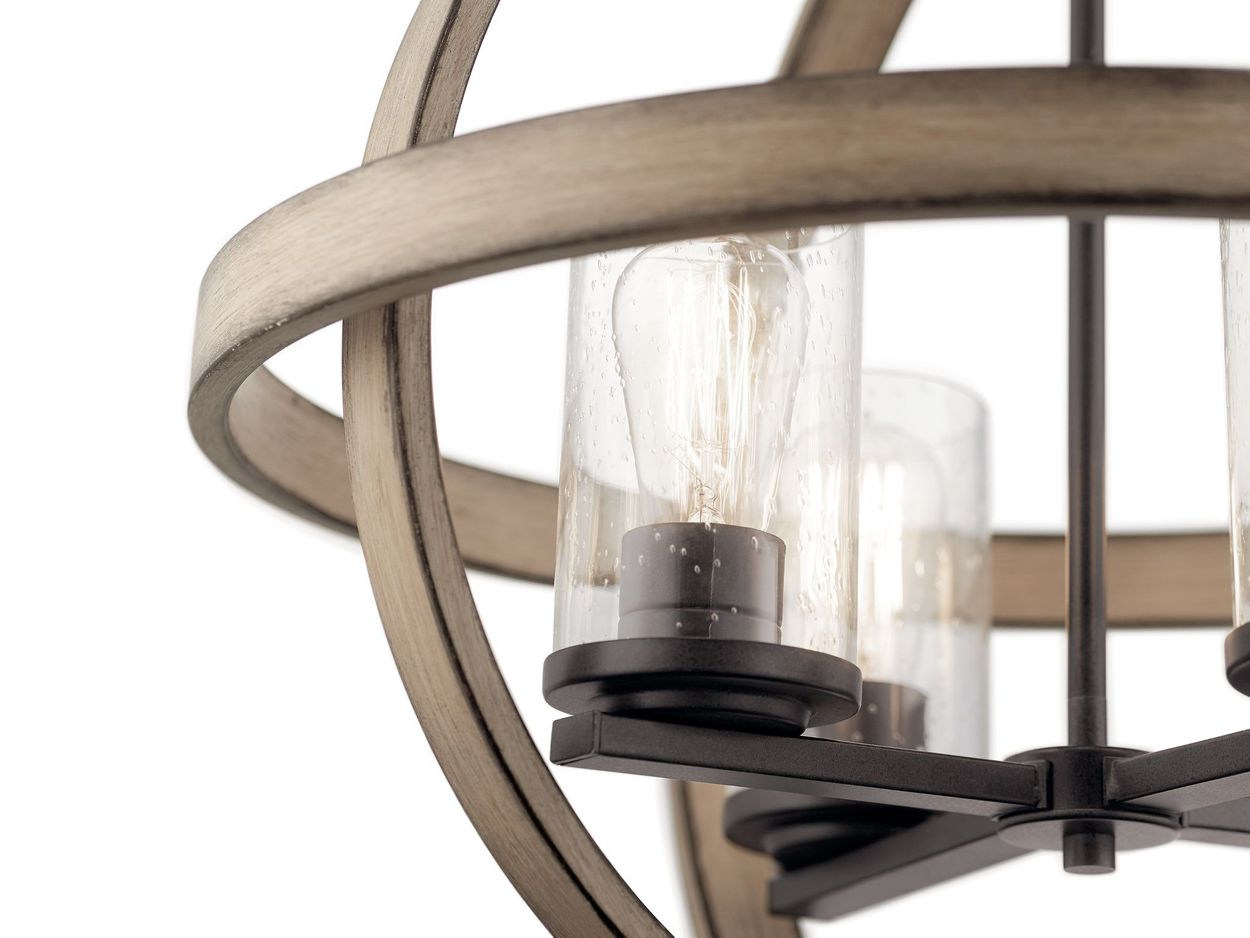 kichler barrington anvil iron and distressed antique grey rustic seeded glass cylinder mini pendant light