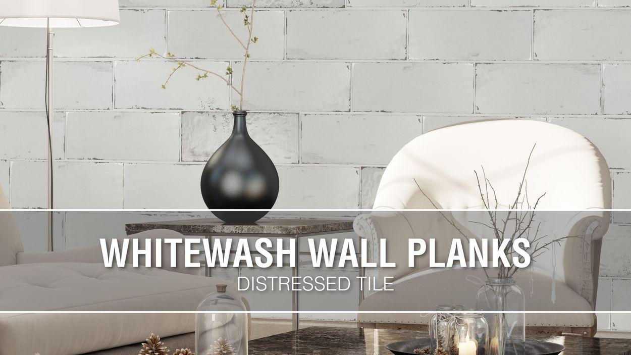 elida ceramica whitewash wall planks 8 in x 20 in glazed ceramic stone look wall tile