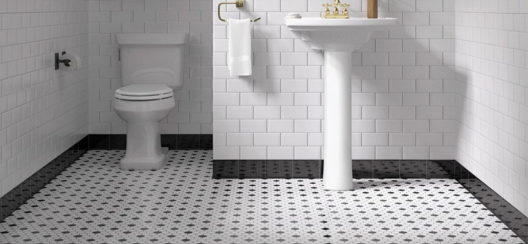 black and white hexagon tile bathroom floor