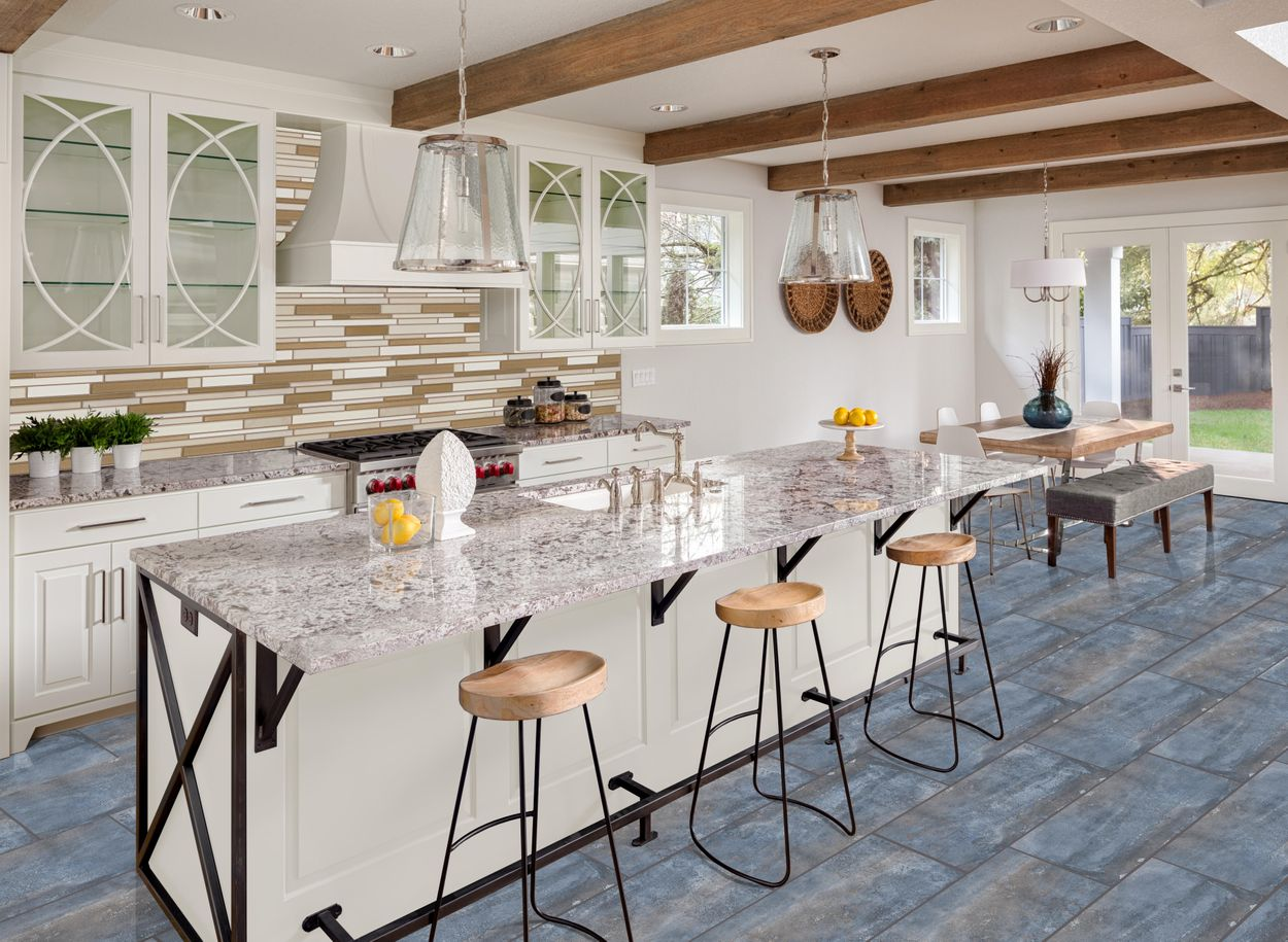 style selections wexford steel 12 in x 24 in glazed porcelain cement look floor and wall tile