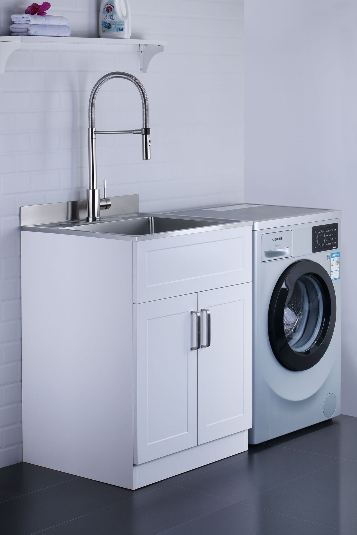 afa stainless steel laundry sink 25 x 22 with faucet cabinet