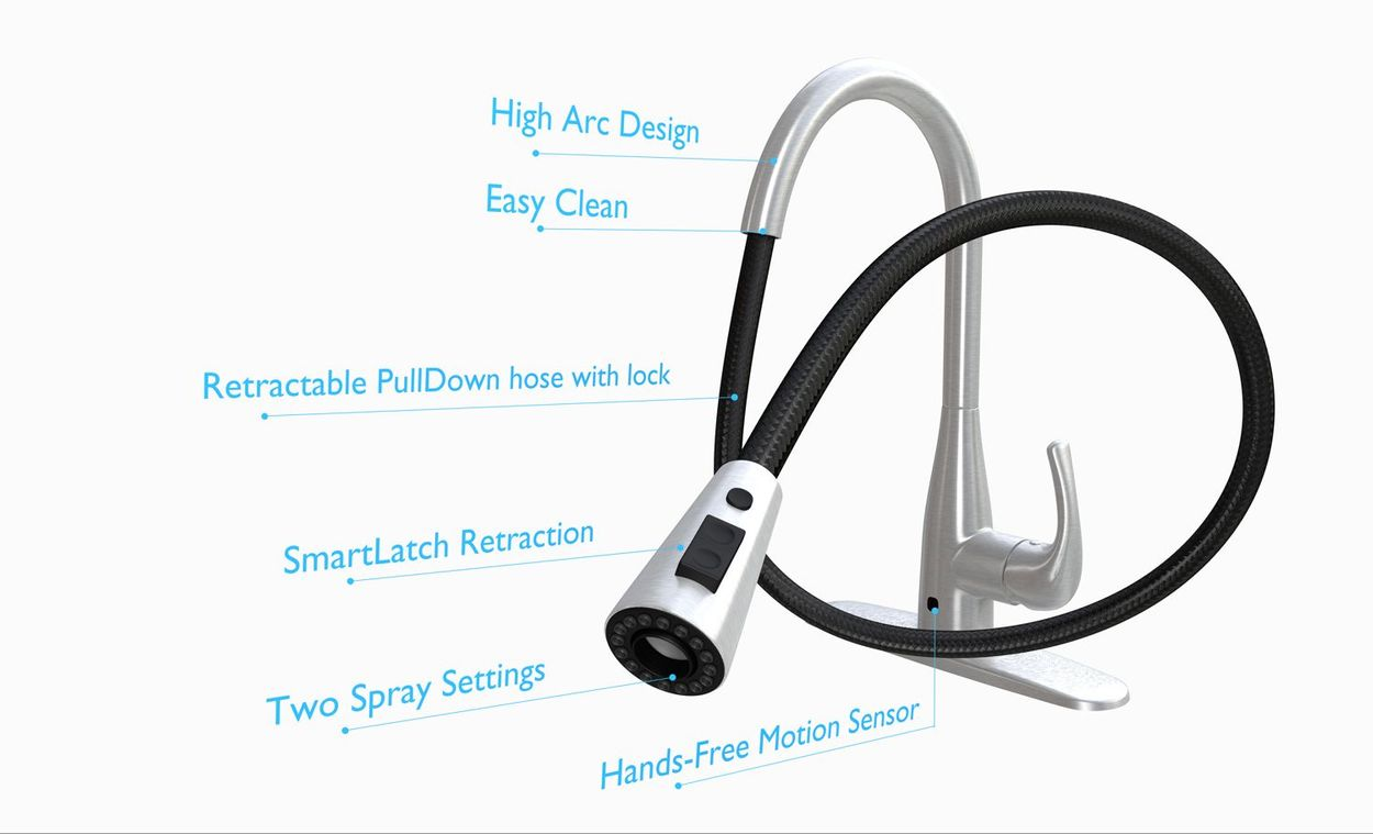 flow motion activated pull down kitchen faucet