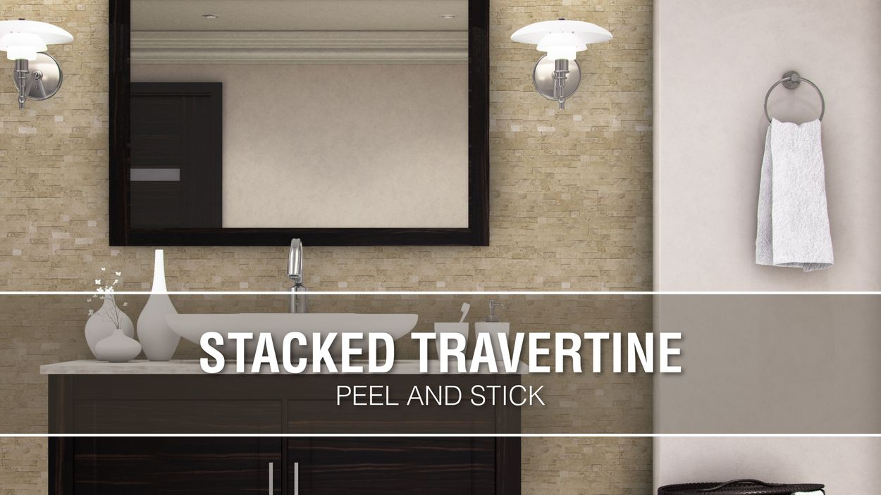 peel stick mosaics peel and stick stacked travertine 12 in x 12 in multi finish natural stone travertine linear peel and stick wall tile