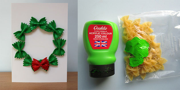 No Mess Pasta Wreath Christmas Card Twinkl Teaching Blog