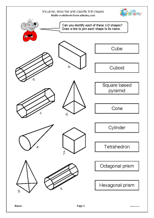 Geometry (Shape) Maths Worksheets for Year 4 (age 8-9