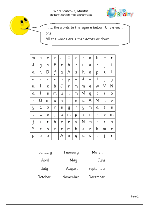 Year 2 Months Wordsearch