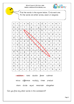 Y3 Calculate Word Search