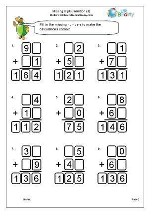 Written addition: missing digits (3)