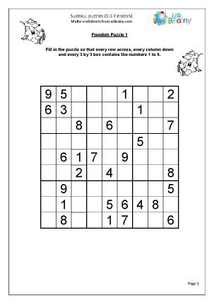 Sudoku 1 to 5 (fiendish)