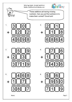 Missing digits: 4-digit addition