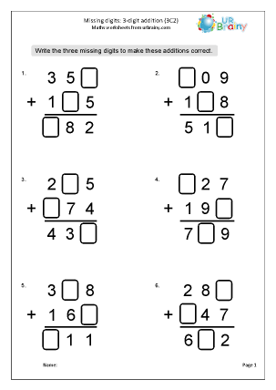 Addition: missing digits (3C2)