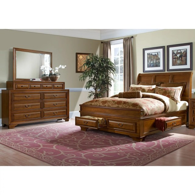 Sanibelle 6 Piece King Storage Bedroom Set Pine