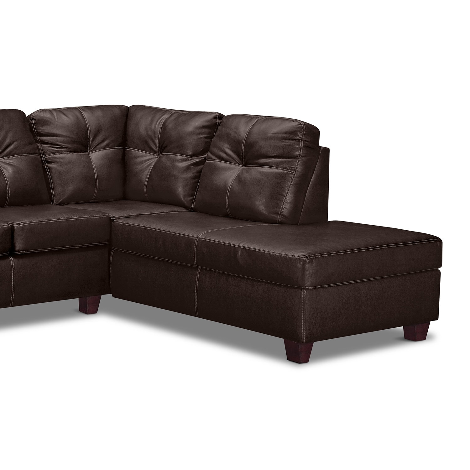 back of sofa facing fireplace scandinavian corner uk ricardo 2 piece sectional with right chaise brown