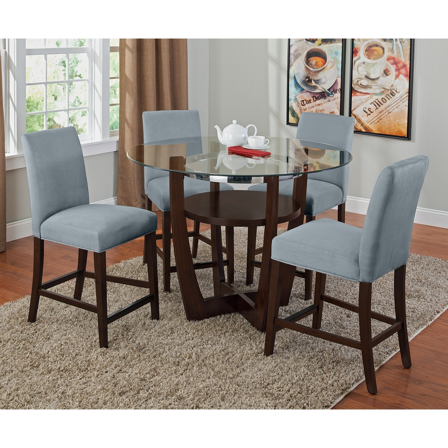 Counter Height Dining Room Chairs Alcove Counter Height Dinette With 4 Side Chairs Aqua