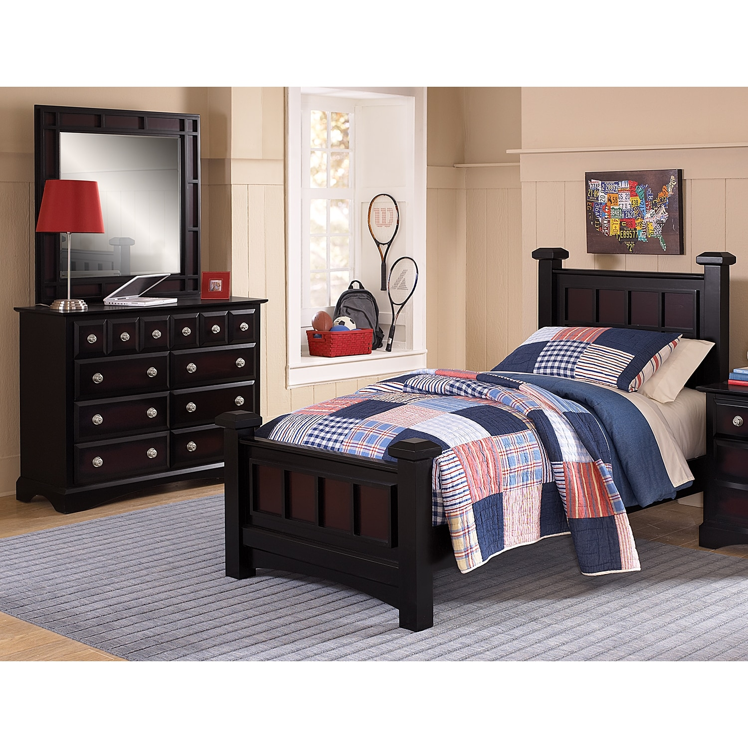 Winchester 5Piece Full Bedroom Set  Black and Burnished Merlot  Value City Furniture and