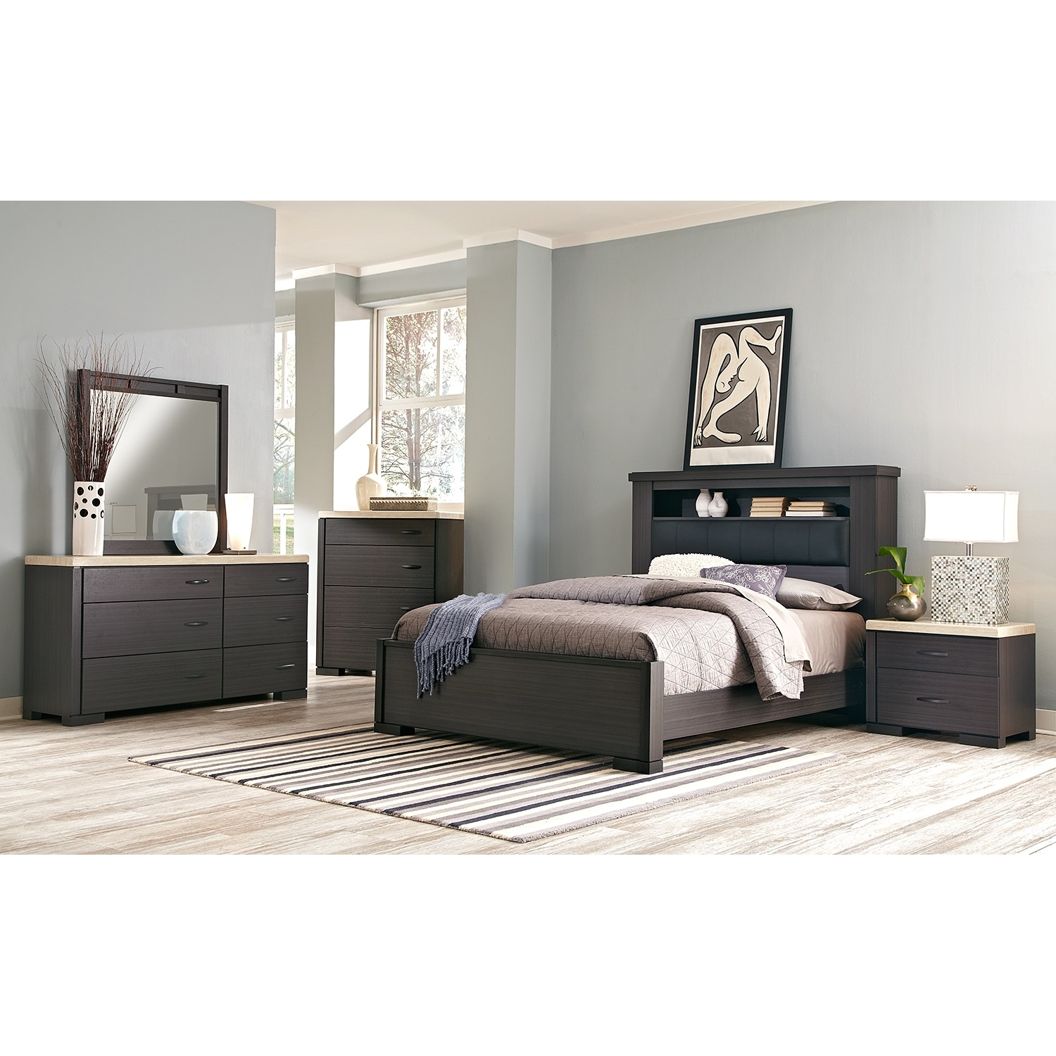 camino 7-piece king bedroom set - charcoal and ivory | value city