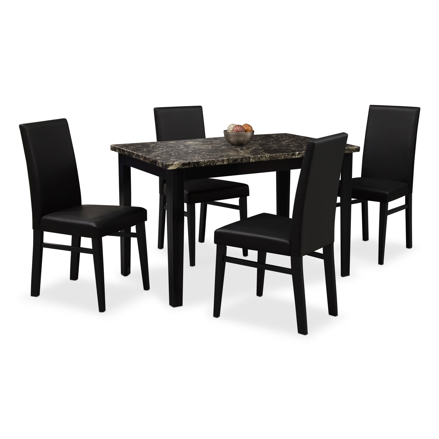 black table and chairs navy velvet dining shadow 4 value city furniture mattresses room