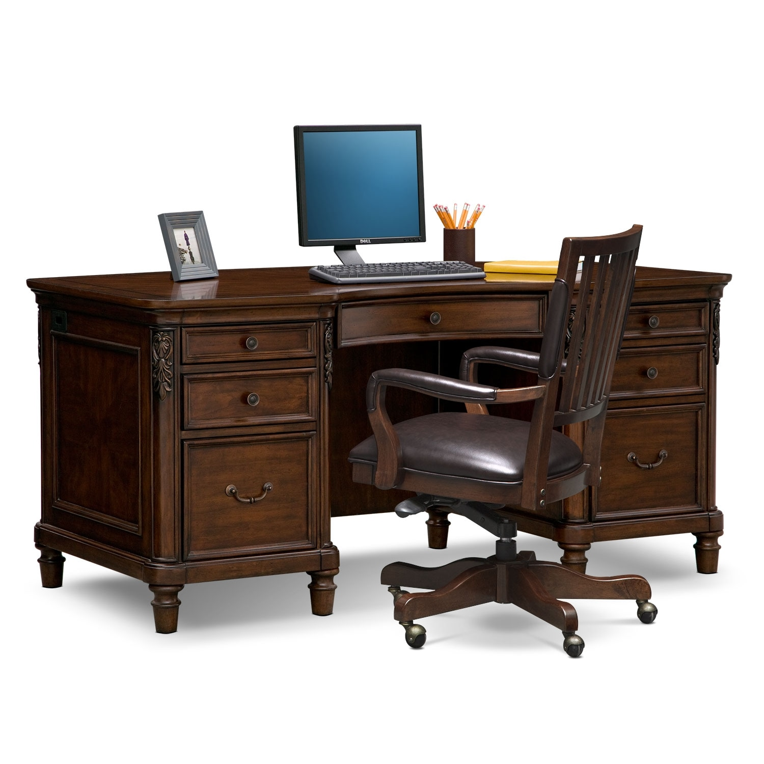 Home Office Desk Chair Ashland Executive Desk And Chair Set Cherry Value City