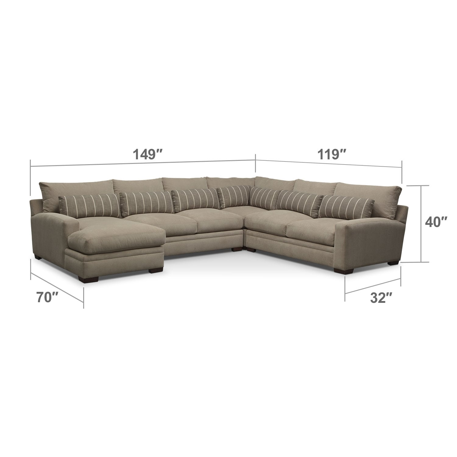 where to donate sectional sofa vintage vinyl bed ventura 4 piece left facing buff value city