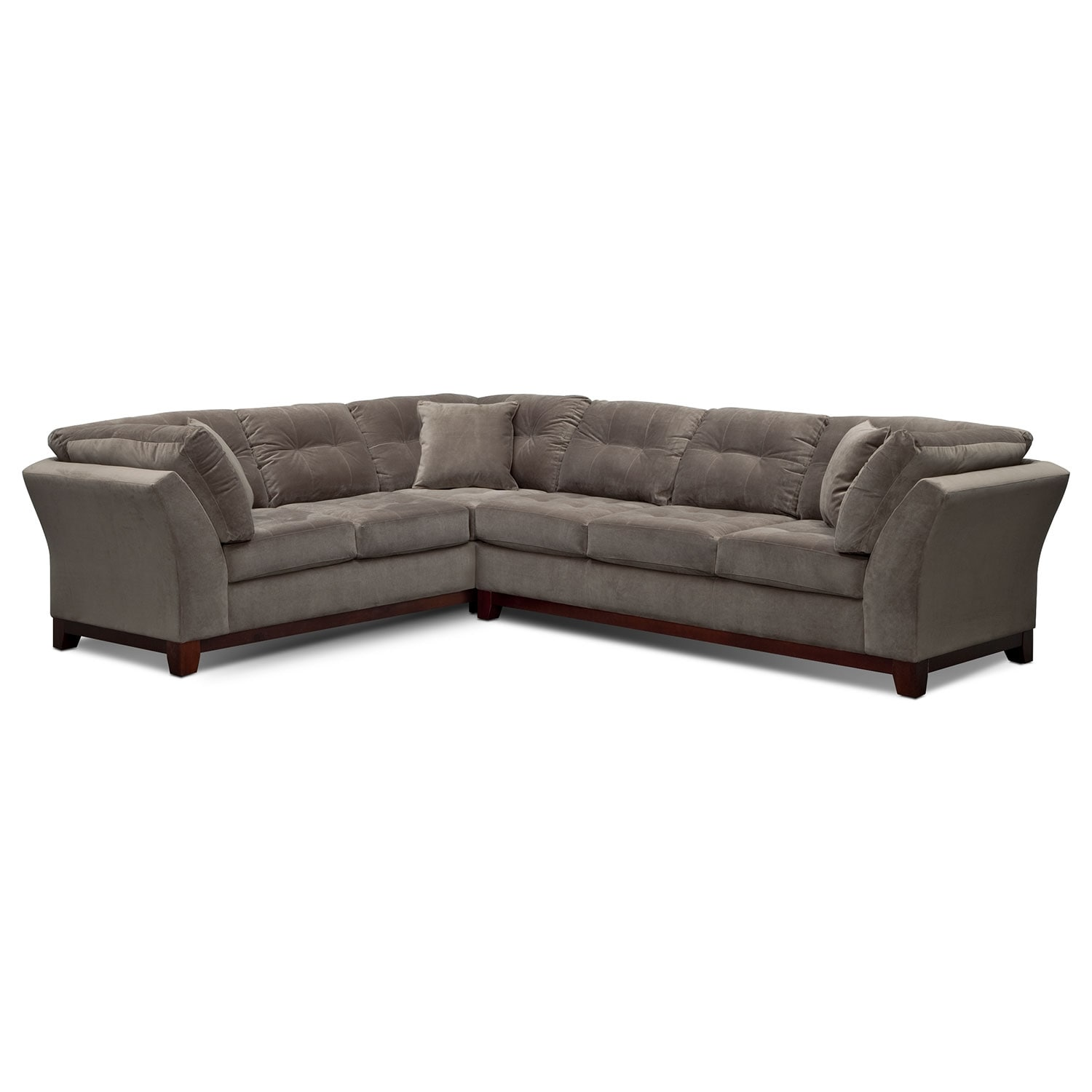 back of sofa facing fireplace e cia sebring 2 piece sectional with right gray