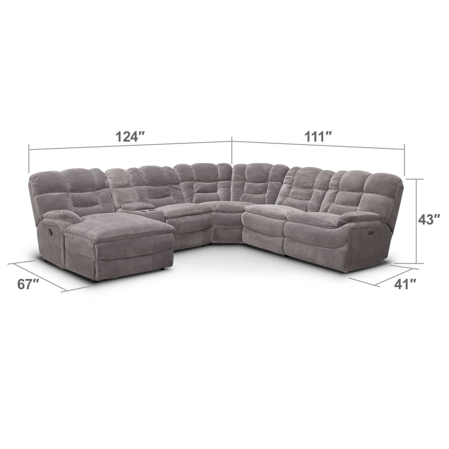 justin ii fabric reclining sectional sofa tufted velvet big softie 6 piece power with left