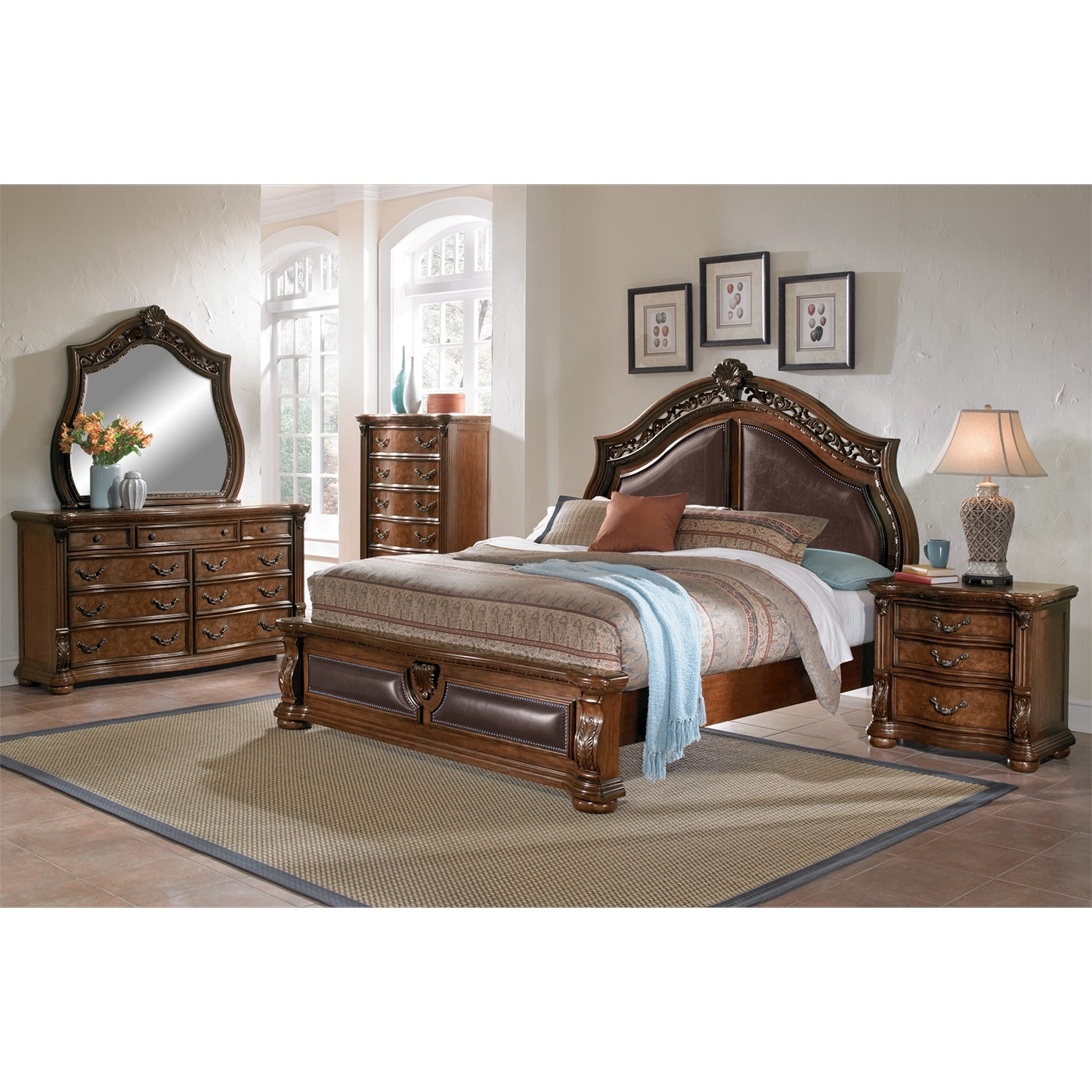 Morocco Queen Bed  Pecan  Value City Furniture