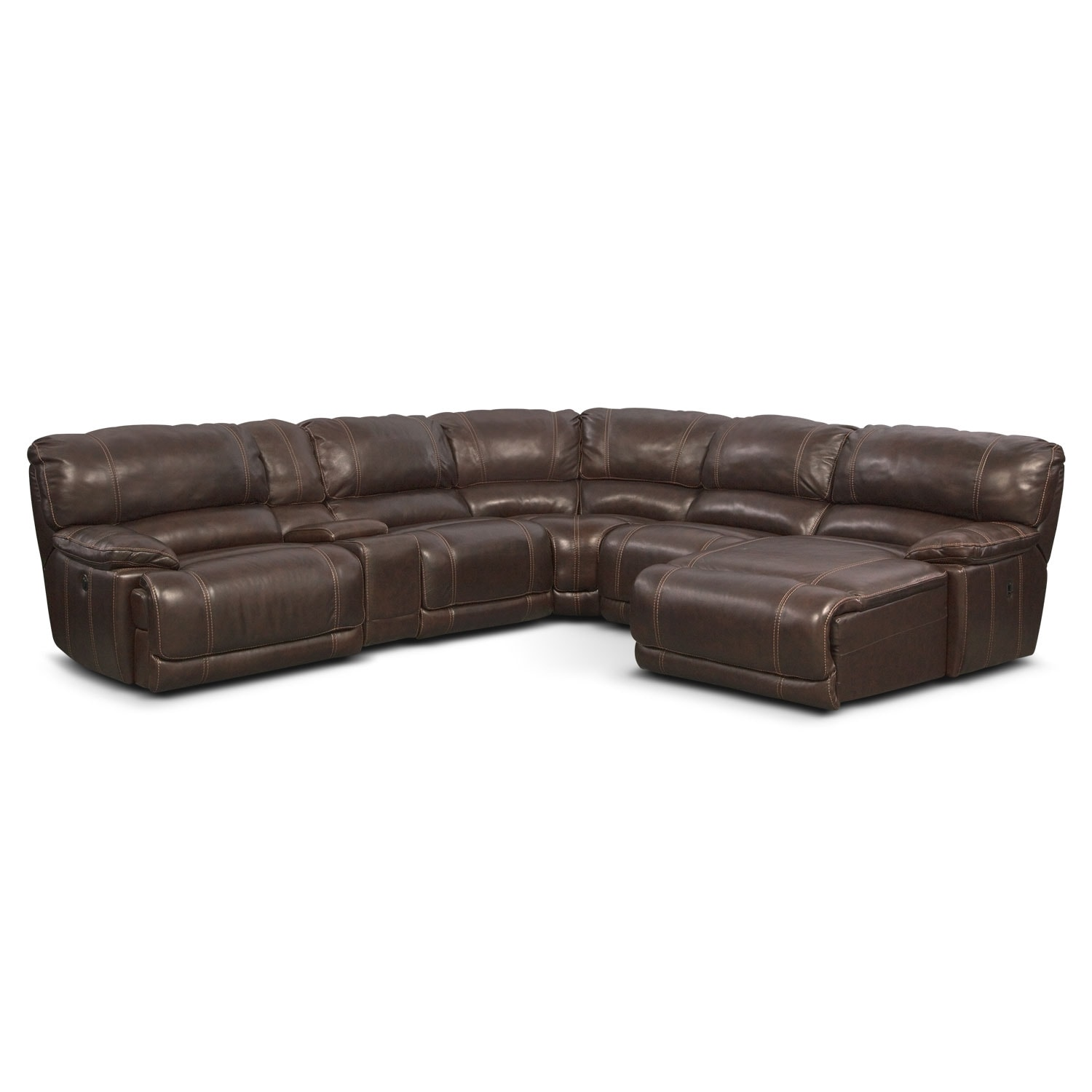 St Malo 6 Piece Power Reclining Sectional With Chaise And 2 Reclining Seats