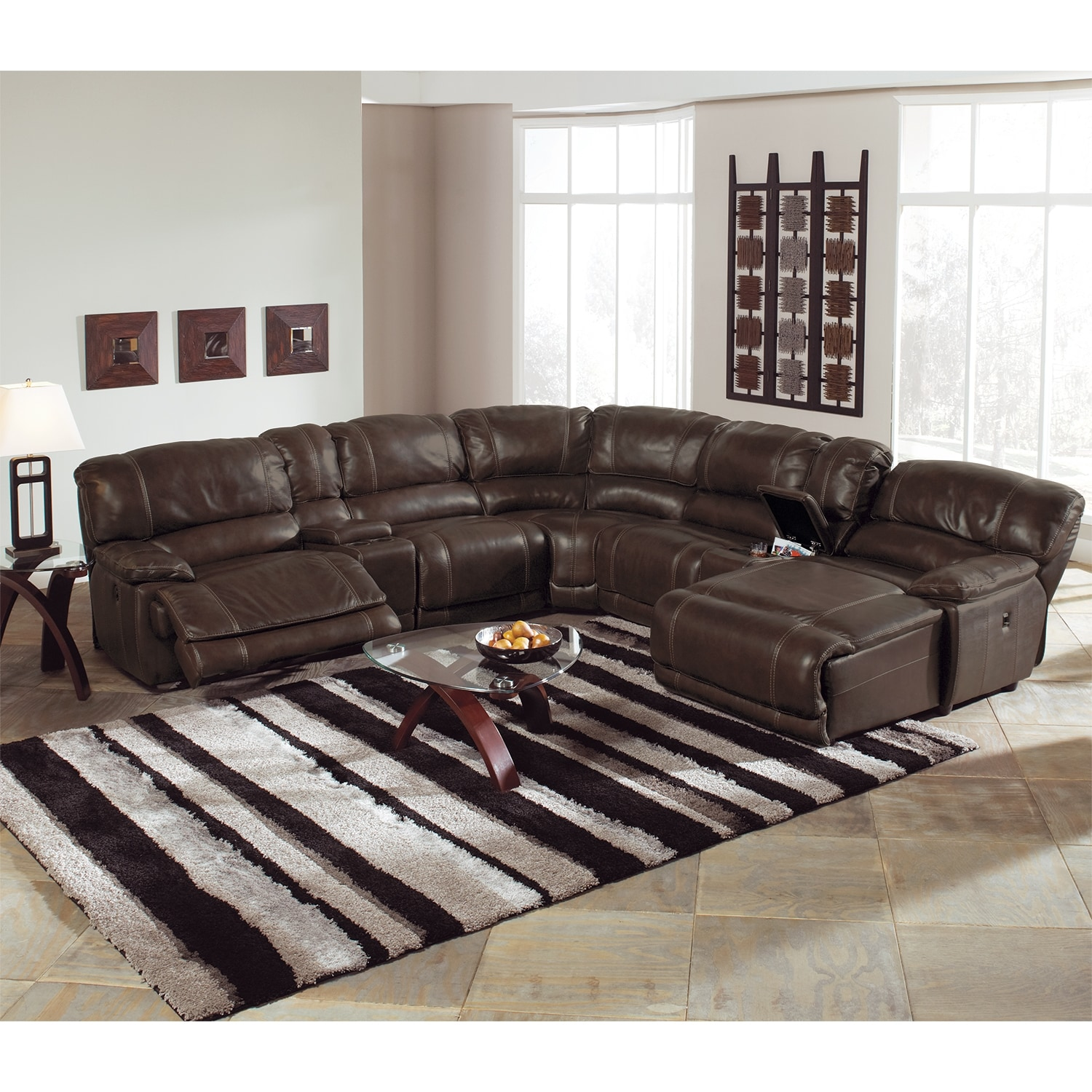 sectional sofa with chaise lounge and recliner transitional sofas sectionals st. malo 6-piece power reclining right ...