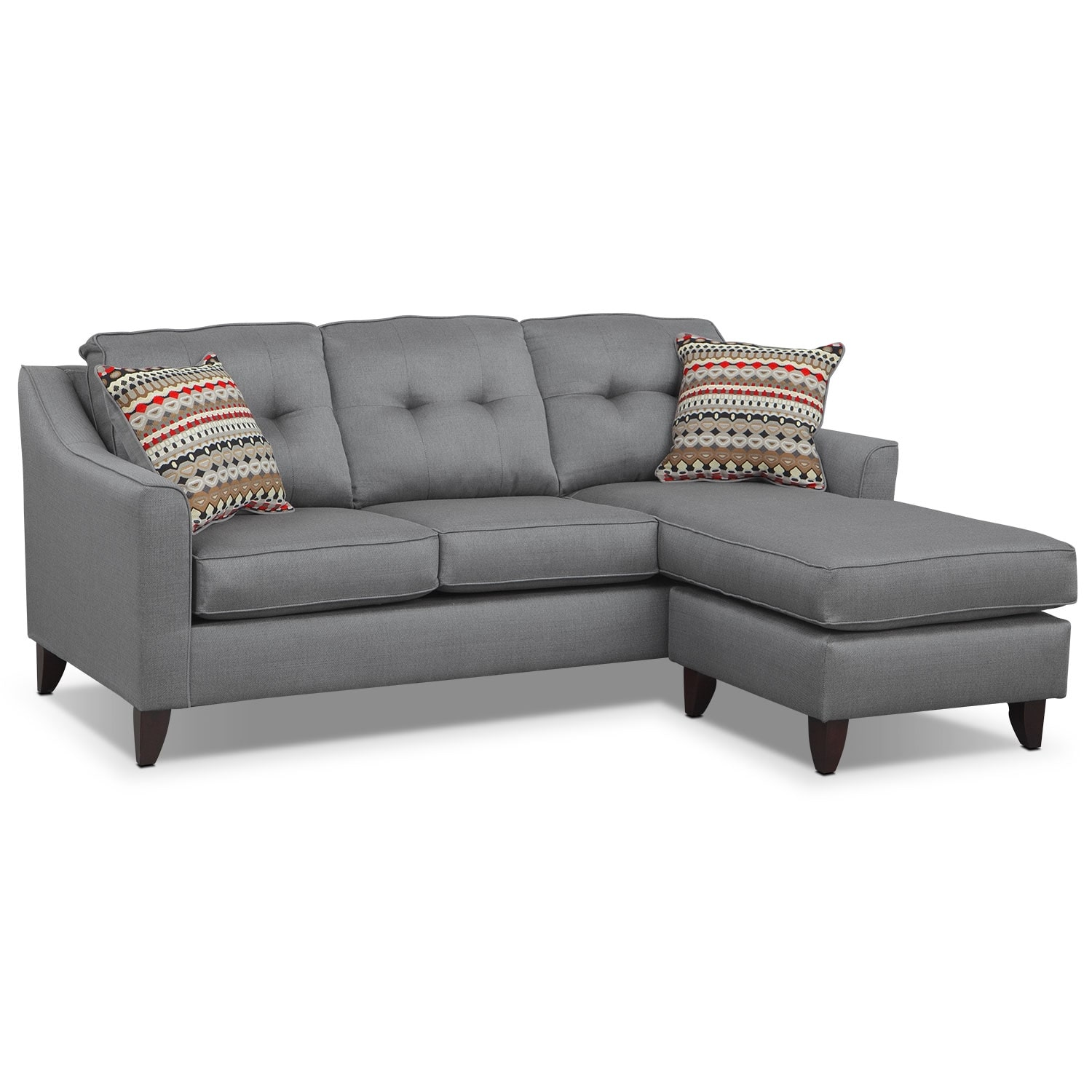 value city furniture marco chaise sofa with drawers gray and mattresses