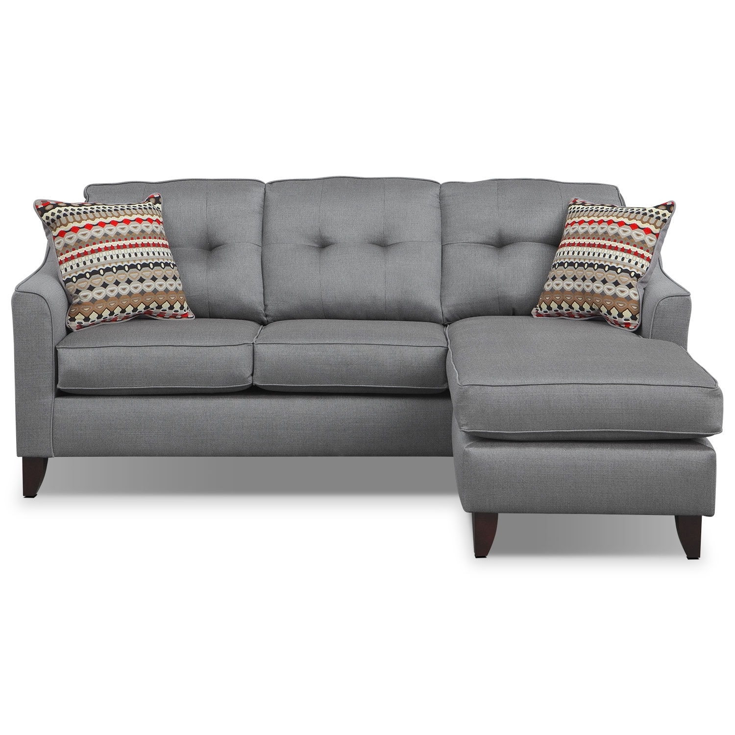 value city furniture marco chaise sofa leather vs fabric gray with using sectional sofas