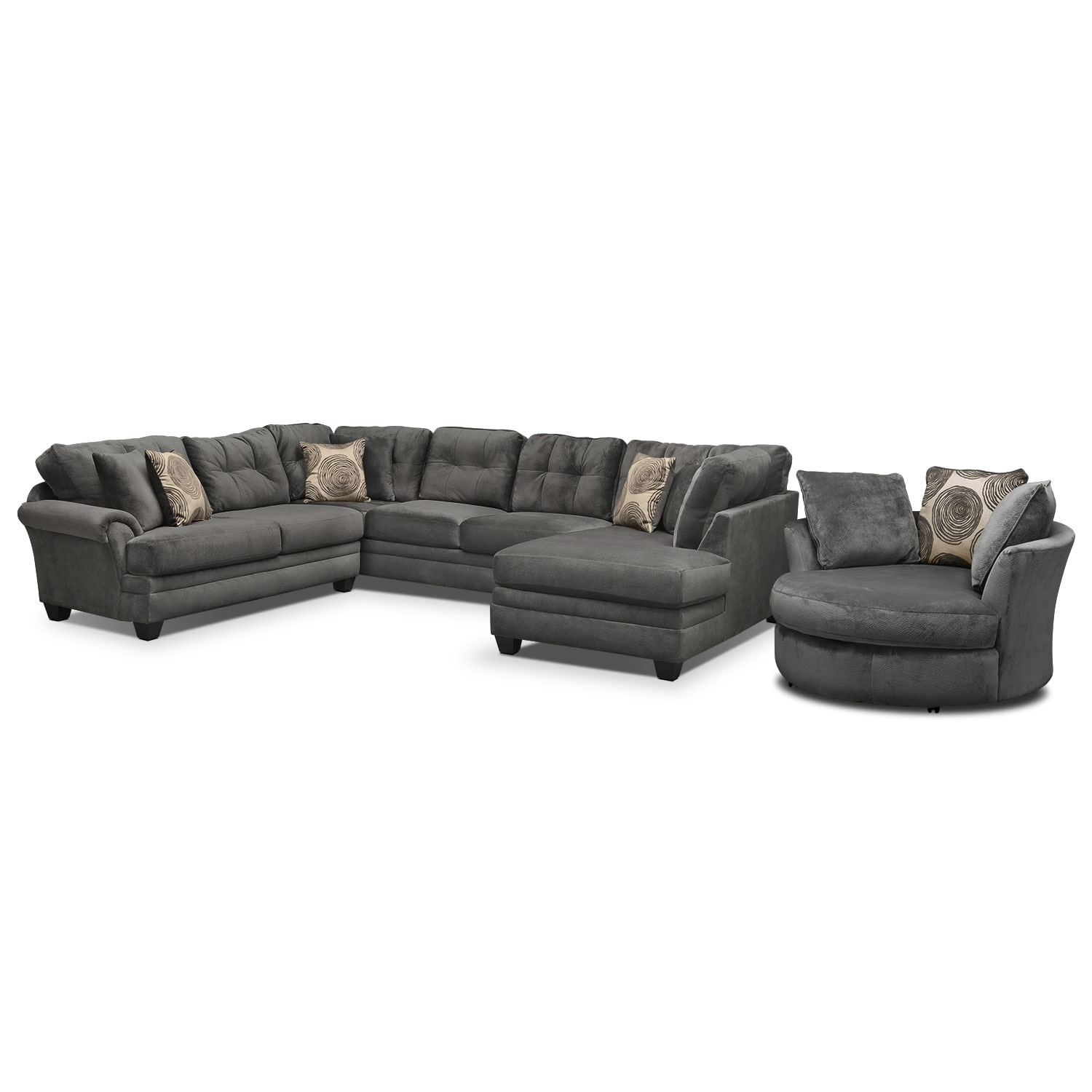 swivel chair sofa set hammock stand indoor cordelle 3 piece sectional with right facing chaise and living room furniture