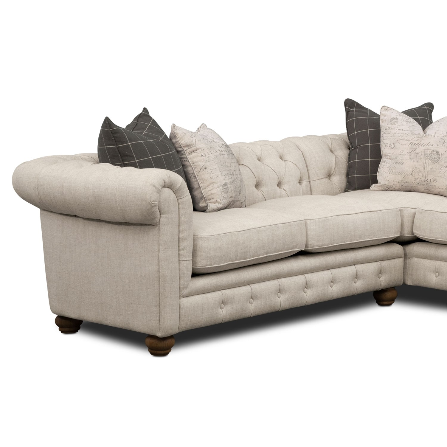 where to donate sectional sofa fuzzy slipcover madeline 2 piece beige value city furniture