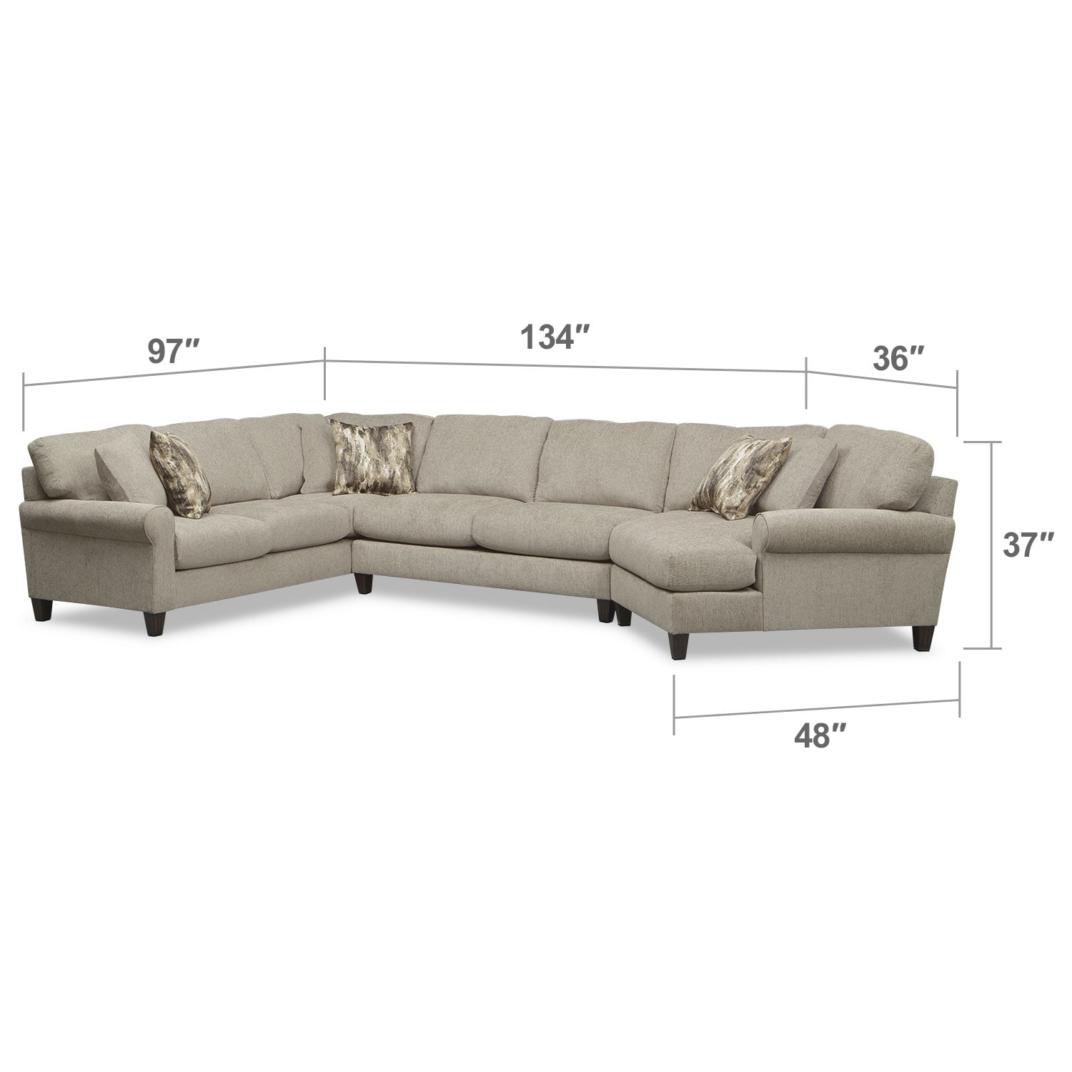 where to donate sectional sofa american furniture warehouse leather sofas karma 3 piece with right facing cuddler mink