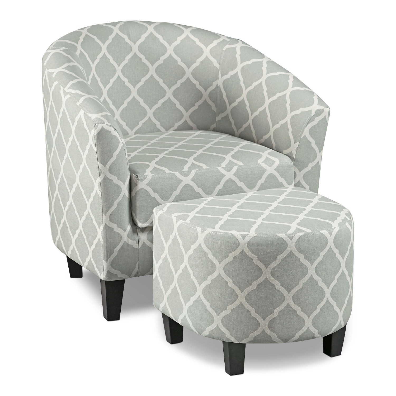 living room chair with ottoman stool adjustable sperrie accent and gray value city