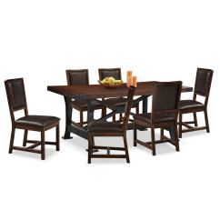 Value City Dining Table And Chairs Chair Cushion Newcastle 6 Side Mahogany