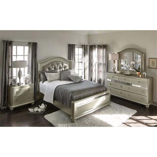 Serena Queen 6 Piece Bedroom Set Platinum