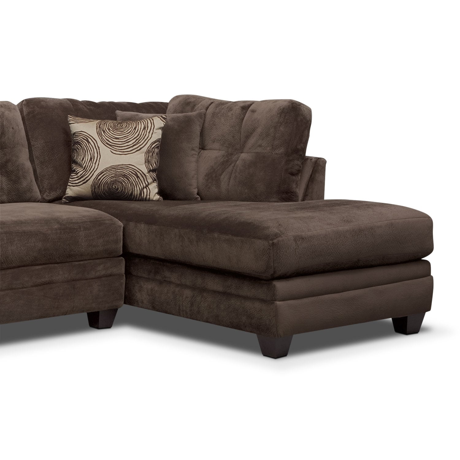 back of sofa facing fireplace grey bed sectional cordelle 2 piece with right chaise