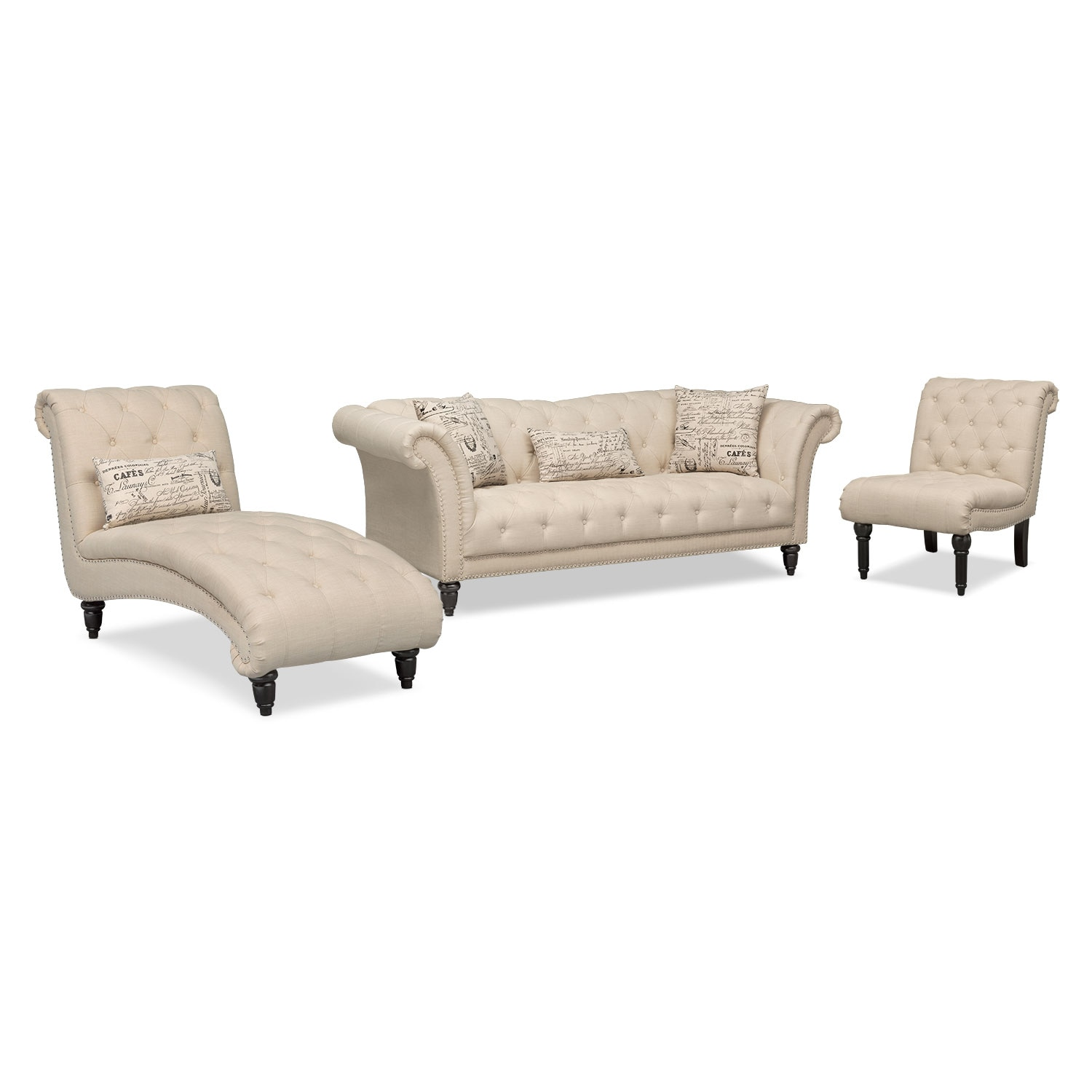 value city furniture marco chaise sofa poundex bobkona leo reversible sectional marisol and armless chair beige